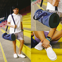 Agy Durante - Folded & Hung White Polo Shirt, Nike Jersey Shorts, Crocs White Sli On Sneakers, Oxygen Blue Duffel Bag, Giordano Baller Band, Giordano Watch - LET'S GET PHYSICAL