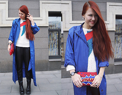Jenny Danilkova - Beyond Retro Sweater, Bershka Pants, Mango Clutch - Pop art details