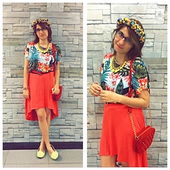 Ana Lu Massena - Emme Red Spiked Purse, Aquamar High Low Skirt, South Floral Shirt, Forever 21 Neon Maxi Necklace, Leader Spiked Shoe - I look like summer
