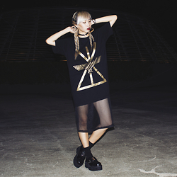 Juju Tan - Long Clothing Graphic Tee, Depression Mesh Dress, Long Clothing Buckled Platforms - LIVE LONG