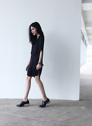 Leonie Leong - Aritzia Wilfred Dress, Jeffrey Campbell Brogues - Blank State