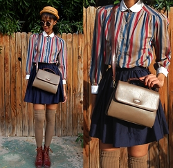 Luna Nova - Vintage Straw Hat, Vintage Striped Blouse, Vintage Cross Body Bag, Vintage Leather Boots - Lessons
