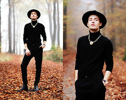 Patrick Pankalla - Matinique Turtleneck, Topman Chuncky Lion Necklace, Weekday Trousers, Brett & Sons Chelsea Boots, Asos Gold Double Ring, H&M Fedora Hat - In The Forest