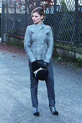 Valeria Arizzi - Adele 1961 Sheepskin Blazer, Adele 1961 Woolen Trousers, Hats And Dreams Felt Hat, D&B T Bars - Androgynous look in grey hues