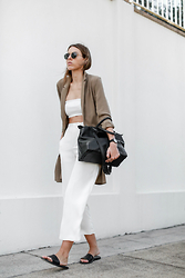 Kaitlyn Ham - Asos Camel Longline Boyfriend Blazer, Josh Goot Stretch Knit Tube Top, Theory Wide Leg Cropped Silk Pants, Alexander Wang Black Leather Prisma Tote Bag, Common Projects Leather Slide Sandals, Ray Ban Round Metal Sunglasses - WHITE + CAMEL.