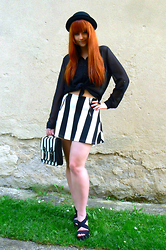 Tereza Saki - C&A Black Bowler Hat, Tally Weijl Black Shirt, Thrifted Striped Skirt, C&A Striped Satchel, H&M Black Sandals, H&M Ring With Black Heart - 60