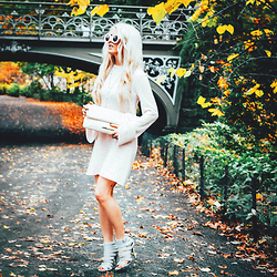 Rachel Lynch - Wildfox Couture Pink Barbie Sunglasses, Mor Dotter Pink Knit Sweaterdress, Brahmin White Clutch, Nasty Gal White Sandal - Fall in Central Park <3