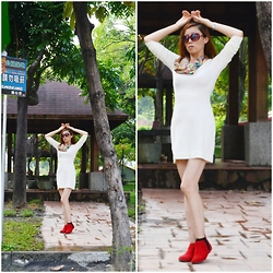 Heloise Lin - Mango Knitted Dress, Aldo Ankle Boots - White ,red make my mood