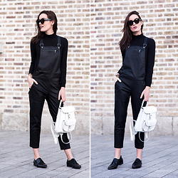 Anouska Proetta Brandon - Guess? Leather Overalls, Grafea Backpack, Loafers, Céline Sunglasses - Gone Dark.