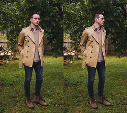 Jaccob McKay - Jack London Trench Coat (Sample Piece), Country Road Woolen Sweater, Asos Workboot In Leather - New haircut