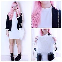 Tilly Kozimor - Missguided Ribbed Bodycon, New Look Black Blazer, Depop User: Kyliejanee Fluffy White Bag - Ribbed in White