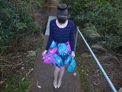 Imogen O - Modcloth Day Off The Grid Dress In Galaxy, Alannah Hill Hold Me Down Bag, Mimco First Kiss Pumps, Alannah Hill My Crushing Crush Cardigan - Blue, Pink & Galaxy