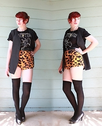 Sarah W. - Thrifted Waistcoat, Iron Fist Clothing Shorts, Second Hand Heels, Kmart Led Zeppalin Shirt - LED ZEPPELIN