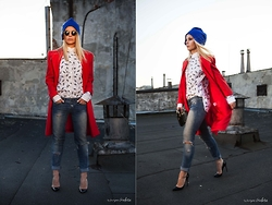 Ewa Szabatin - Shabatin Coat, Shabatin Revolver Shirt, United Colors Of Benetton Jeans, Christian Louboutin Shoes, Butterflysoulfire Hat, Bcbg Bag - Powerful Lady In Red.