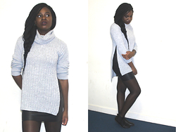 Adeola A. - Missguided Roll Neck, H&M Pleather Skirt, Ebay Chelsea Boots - My Grey Roll Neck
