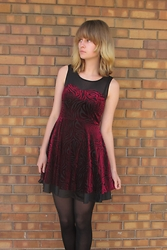 Sophie G - Forever 21 Velvet Dress, Target Black Tights - Velvet stripes