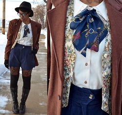 Sushanna M. - Thrifted Black Fedora, Vintage Brown Men's Tailored Suit Jacket, Vintage Corduroy Tapestry Vest, Miss Patina London Cream Ascot Blouse, Navy High Waisted Corduroy Shorts, Paisley Print Fishnet Tights, Black Knee High Boots - Kiss & Tailor