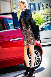 Elena Barolo - H&M Leather Fringe Jacket, Mink Print Leopard Dress, Balenciaga Leather Bag, Jimmy Choo Black Leather Boots, Topshop Cross Earrings - Animalier me