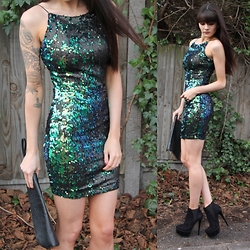 Victoria Rose - Axparis Sequin Bodycon, Kurt Geiger Bethany Boots - Mermaid Dress