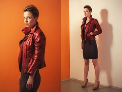 Wendy Pomajbikova - Biker Jacket, Dress, Peeptoe High Heels - Red & grey is always good idea