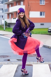 Jane Bond - Irregular Choice Shoes, Irregular Choice Clutch, Oasis Coat, Deers.Cz Hat, Kikiriki Skirt - Happy in tulle