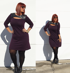 Jaclynn Brennan - Metrostyle Textured Keyhole Dress, Freida Rothman Serena Sunglasses, Michael Kors Buckle Booties - Texture & Cut-Outs
