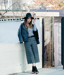 Leah Ho - Eugenia Kim Fedora, Alexander Wang Leather Jacket, Hogan Booties - PLAID PANTS