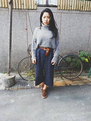 Junci Wang - Once Upon A Time Cony Wool Turtleneck Sweater, Once Upon A Time Checked Wide Leg Cropped Pants, Once Upon A Time Vintage Leather Belt, Once Upon A Time Custommade Handmade Picasa Leather Oxford - Gentleman will look into your beautiful eyes