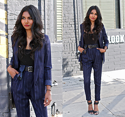 Tiffany Borland - Missguided Pinstripe Blazer, Missguided Pinstripe Trousers - You look good.
