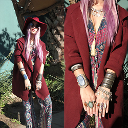 Sera Brand - Nasty Gal Red Hat, Jolly Chic Red Cardigan, Novella Royale Jumpsuit - Desert Shadows