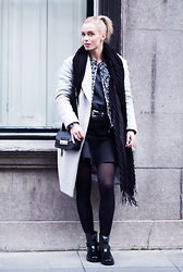 Anita VDH - H&M Long Grey Coat, H&M Black Scuba Skirt, Furla Black Shoulder Bag - The Perfect Coat