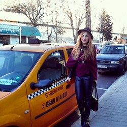 Maria Pasiali - Maripas Poncho Made By Me, Zara Leather Pants, Zara Leather Jacket - Taxiii please