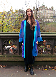 Jess A - Vintage Blue Suede Coat, Vintage Sweater Dress, New Look Chelsea Boots - Family Vintage