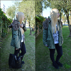 Valeria S. - Obey Parka, Hellz Bellz Shirt, Vans Bag, T.U.K Shoes, Dr Denim Jeans - Parka is the Way