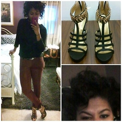 Desena Harper - Forever 21 Black Lace Sweater, Shoe Republic La Shoes - Curly and Laced