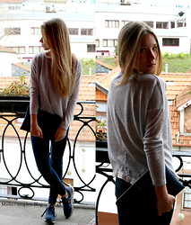 Masha Kiseleva - Stradivarius Basics, Zara Jeans, New Balance Blue And Burgundy, B Simple Blue Clutch - Winters Blues
