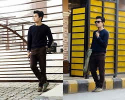 Goku Shrestha - Adiago Knitwear, H&M Henley Shirt, Ray Ban Wayfarer - Flowers will bloom
