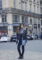 Rosa Pel - Acne Studios Leather Biker Jacket, Levi's® Denim Shirt, Vagabond Black Boots - The acne biker jacket