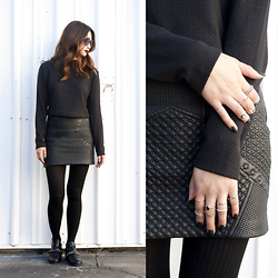 Kelsy N - Forever 21 Chained Ankle Strap Booties, H&M Ribbed Tights, H&M Quilted Skirt, Forever 21 Tortoiseshell Round Sunglasses - All Black Everything