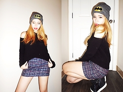 Mira☆ - Batman/Dc Comics Grey Batman Beanie, Forever 21 Black Shoulder Cutout Sweater, Abercrombie Navy Tweed Mini Skirt, Guess? Black Studded Sneaker Pumps - Batgirl