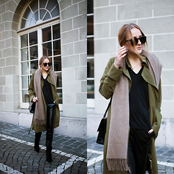 TIPHAINE MARIE - Scarf, Coat, Pants, Top, Bag - Leather pants.