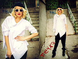 Lara Popa - Teyxo White Cotton Blouse, Teyxo Black Drop Crotch Pants - The devil wears White...