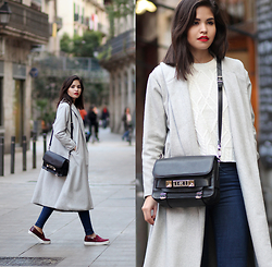 Adriana Gastélum - Sheinside Grey Long Coat, Proenza Schouler Ps11 Bag - Sunday mood