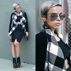 Priscila Diniz - Silver Mirror Cat Eye Lens Sunglasses, Black White Long Sleeve Plaid Belt Coat, Solestruck Gold Dot X Malene Oddershede Bach - Silver
