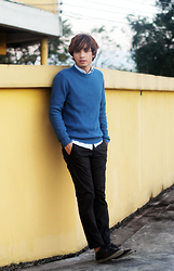 Duane Bacon - H&M Knitted Pullovers, Cotton On Polo, H&M Slim Fit Chinos, Topman Trigger   Wing Tip Dress Shoes - Wall Flower