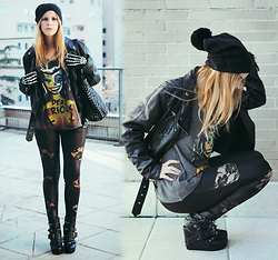 Vita Dinamita - Iron Fist Clothing Shirt, Ebay Leggings, Abbey Dawn Studded Boots - Dead Serious!