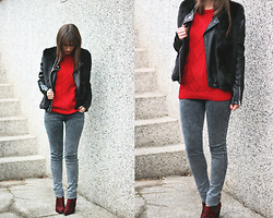 Dosta Radnjanska - Oasap Sweater, Chic Wish Fur Vest, Asos Boots, Leather Jacket - Red