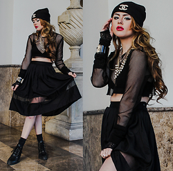 Bebe Zeva - Chanel Custom Beanie W/ Pearl Brooch, Yes Style Diy Mesh Crop Top, Romwe Mesh Panel Midi Skirt, Chanel Crystal Embossed Cuff Bracelet - Midi Class