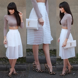 Victoria Rose - Missguided Ribbed Turtle Neck Crop, Pinnacle Runway Girls Best Friend Skirt, Office Shoes Leopard Print Courts - Pinnacle Runway