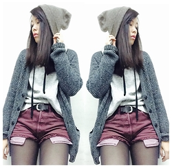 Joyce Tse - Topman Beanie, H&M Grey Cardigan, Urban Outfitters Denim Shorts - OOTD - Casual Day